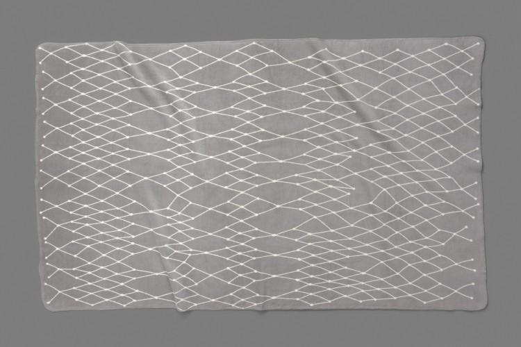 Woven blanket: THE GRID - light grey