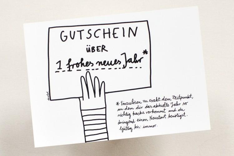 Postcard: GUTSCHEIN ÜBER 1 frohes neues Jahr