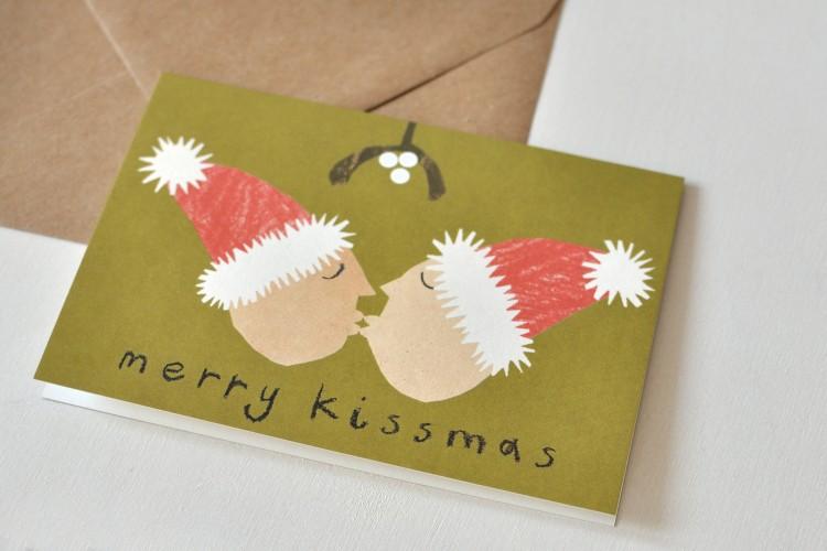 Folded card: MERRY KISSMAS