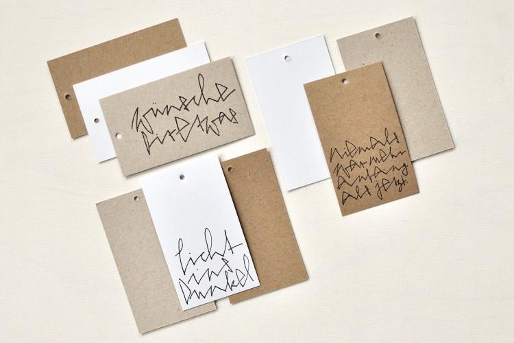 Gift tags, hand printed: handwritten