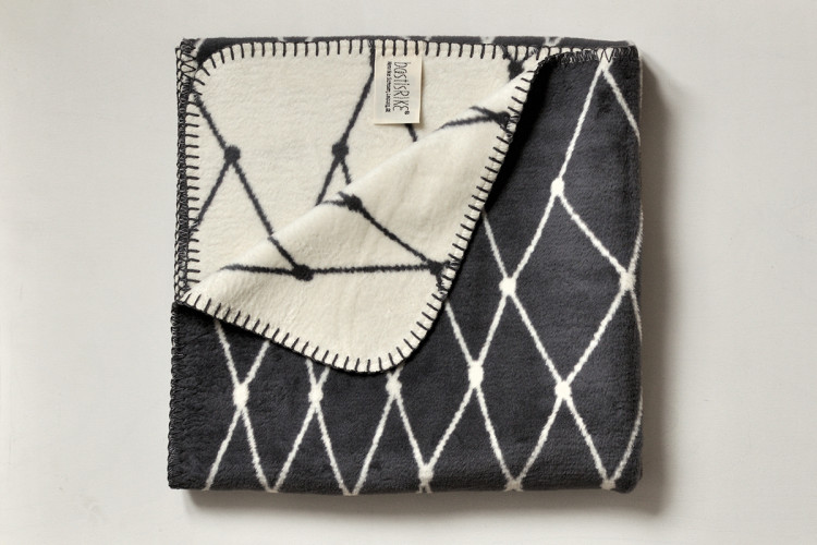 Woven blanket: THE GRID Baby blanket - dark grey - 75 x 100 cm