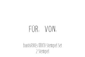 Mini rubber stamp set: 'VON:' and 'FÜR:'
